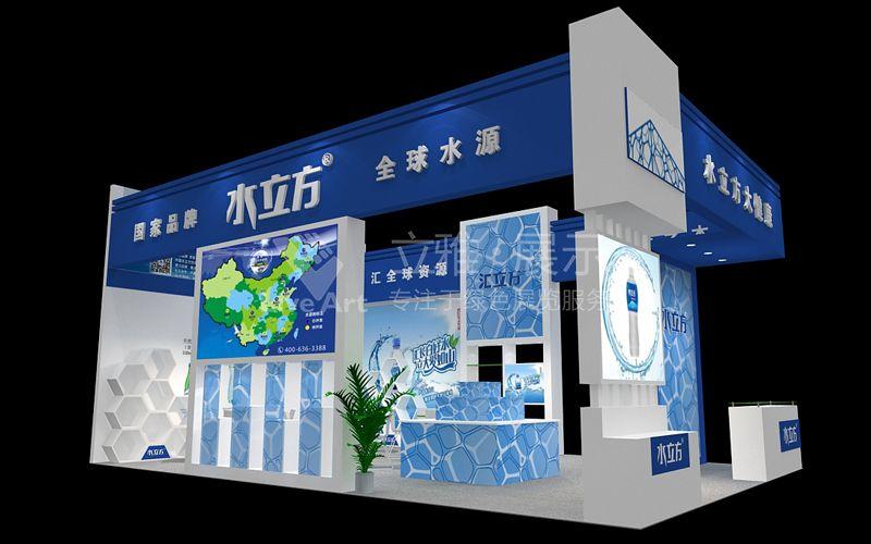 展台设计结合产品展示,以蓝色为主色调,以水纹制作背墙画面,展现水的